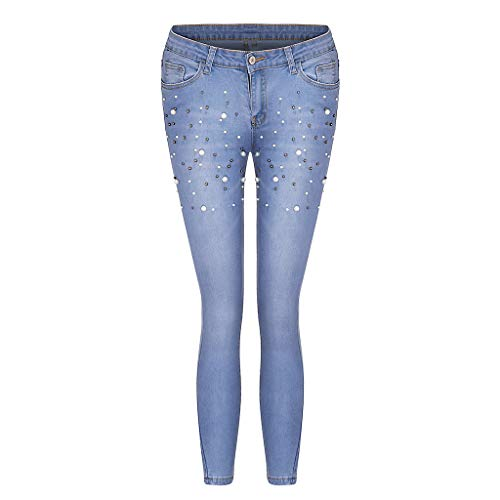 Lady High Waisted Stretch Slim Pants Embroidered Flares Jeans Calf Length Jeans Blue XXL Trousers for Women