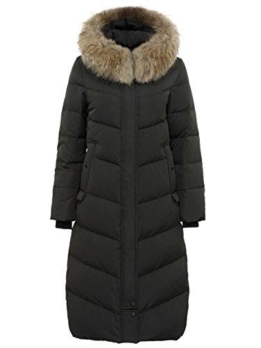 Bosideng langer Frauen-Daunenmantel mit abnehmbarer Kapuzenverzierung (die Verzierung ist nicht im Lieferumfang enthalten)., Schwarz , 14 uk