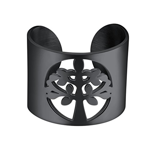 PROSTEEL Black Ring Tree of Life Nature Jewelry Stainless Steel Men Statement Rings