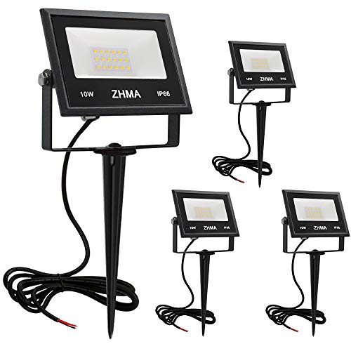 ZHMA Low Voltage Led Landscape Lights 10w 12v Warm White Waterproof Garden Flood Light for Yard, Lawn,Trees Lighting,Outdoor Spotlights with Spike Stand [4 Pack]