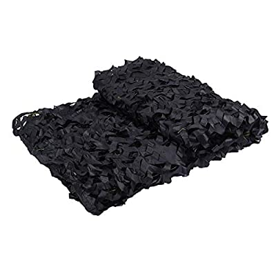 LOOGU Black Camo Netting, 150D Camouflage Net for Sunshade, Camping, Military, Hunting Blind, Party Decorations - 6.5 x 10 Feet