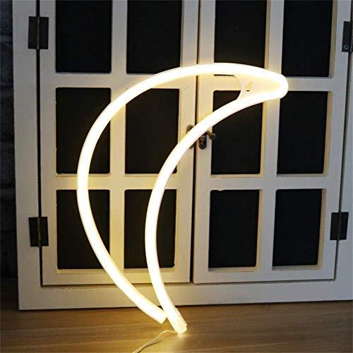 Nordstylee - Segnali di luce al neon con luna, luci notturne a LED, ideali come regalo per bambini, parete, festa di compleanno, Natale, decorazione per matrimoni, colore bianco caldo