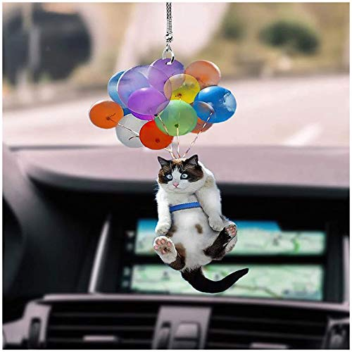 qianduo Car Pendant Hanging, Cute Car Ornament Cat with Colorful Ballon Car Interior Decoration for Mirror Accessories Auto Decor