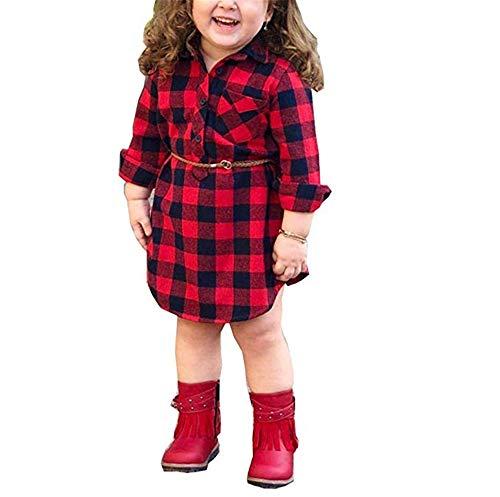 Chloefairy Baby Mädchen Hemd Kariert mit Gürtel Baumwolle Tunika Kleid Langarmshirt Sweatshirt Langarm Bluse Slim Fit Rock A Linie Bekleidung für Kleinkinder Herbst Winter Rot Schwarz (Rot-a, 110)