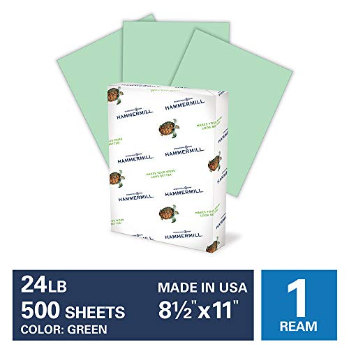 Hammermill Green Colored 24lb Copy Paper, 8.5x11, 1 Ream, 500 Total Sheets, Made in USA, Sustainably Sourced From American Family Tree Farms, Acid Free, Pastel Printer Paper, 104380R