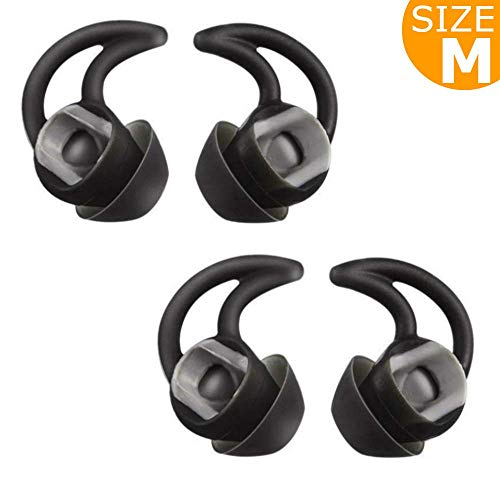 Replacement Silicone Earbuds Ear Buds Tips Eargel Isolation Double Flange for Bose QuietControl 30 QC20 QC20i QC30 Soundsport SIE2 SIE2i IE2 IE3 Wireless Headphones Earphones - 2 Pair (Medium, Black)