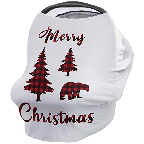 Infant Car Seat Cover Merry Christmas Bear and Tree with Red and Black Buffalo Check Pattern Stretchy Nursing Scarf, Car Seat Canopy, Shopping Cart Cover and High Chair Cover