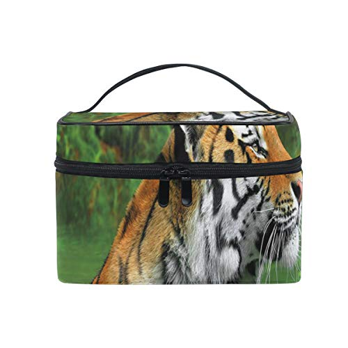ZORMIEY Bolsa de cosméticos grande, bolsa de lavado, bolsa de almacenamiento para mujeres,Gato grande a rayas negras de Siberia nadando en el bosque del lago