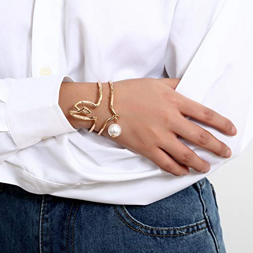 Jewellery Bracelets Bangle For Womens New Adjustable Charm Bangles Gold Silver Color Pearl Bracelets For Women Fashion Jewelry 2-Gold