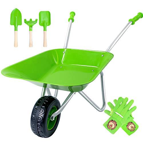 Hortem Kids Wheelbarrow Set, 5PCS Metal Construction Kids Wheel Barrel and Kids Garden Tools,Kids Gardening Glove, Gifts for Children (Green)