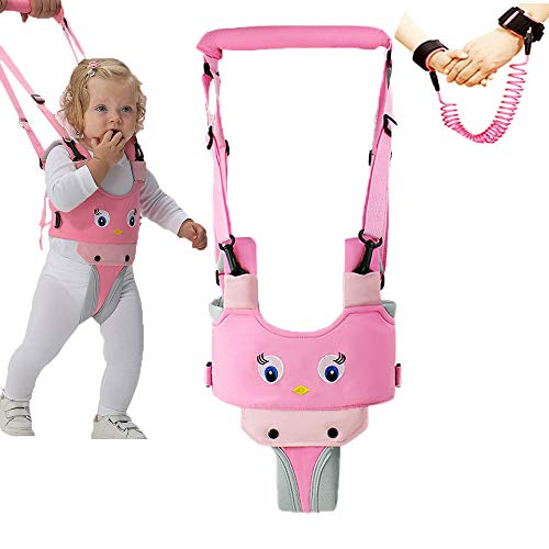 Baby Walker,Walking Handheld Babies Harness Adjustable,Child Activity Toddler Walking Assistant-Help Baby Walk-Pulling and Lifting Dual Use-for 8-24 Month Baby(Pink)
