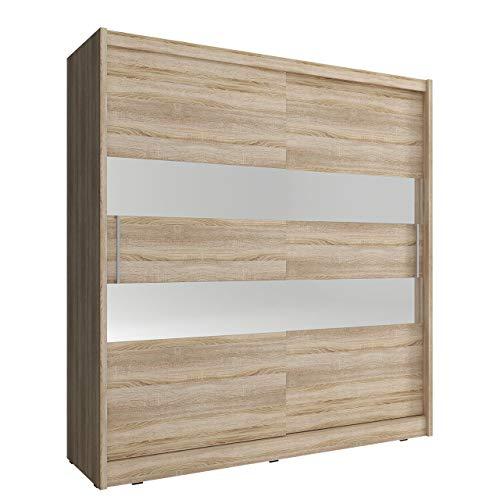 Mirjan24  Schwebetürenschrank Fibo II, Schlafzimmerschrank mit Spiegel, Farbauswahl, Elegantes Garderobenschrank, Kleiderschrank für Schlafzimmer,...