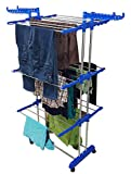 LAKSHAY Double Pipe Supporting Clothes Drying Rack Stand (Standard Size, Blue/Steel Pipes)