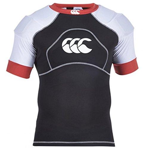 Canterbury Tech+ Impact Maglietta Uomo Corpetto Protezione Rugby, Nero/Bianco/Rosso, Nero, XL