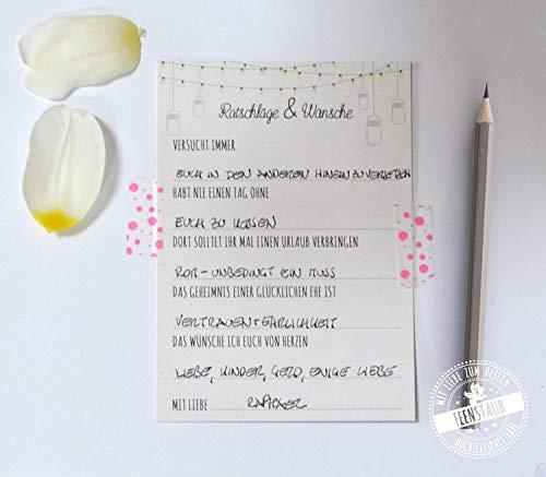 30 Gästebuch Karten Hochzeit mit vorgedruckte Fragen an Hochzeitsgäste zum Ausfüllen & einkleben