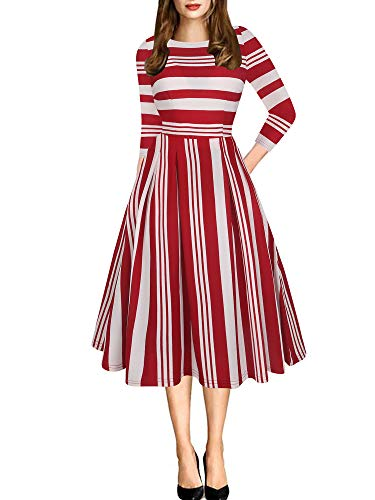 oxiuly Women's Vintage Classic Stripe 3/4 Sleeve Party Church Tea Swing Casual Pockets Dress OX165 (2XL, Red Stripe 7)