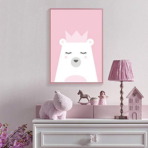 zgwxp77 Karikaturkrone weißer Bär Panda EIS Leinwand Malerei Poster und drucken rosa Mädchen Wandkunst Bild40x50cm ohne Rahmen