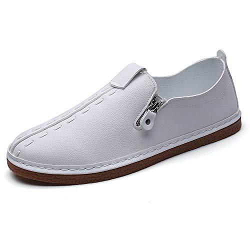 Neivobos Oxford Schuhe für Herren, formelle Schuhe, Slipper, Mikrofaser, Leder, Metall, Reißverschluss, Dekoration, leicht, flexibel (Farbe: Weiß, Größe: 41) thumbnail