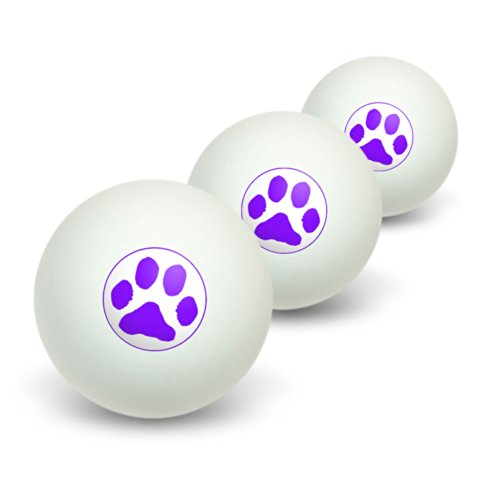 Purchase Graphics and More Paw Print - Purple Novelty Table Tennis Ping Pong Ball 3 Pack