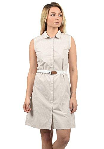 DESIRES Drew Damen Blusenkleid Lange Bluse Kleid Mit Nadelstreifen Aus 100% Baumwolle Knielang, Größe:L, Farbe:Simple Taupe (0162)
