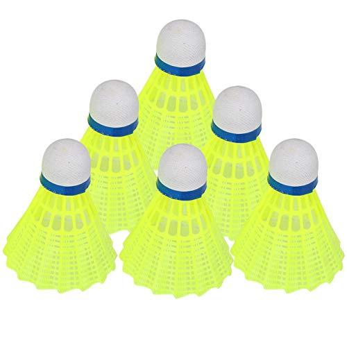 Pwshymi 6 Unids/Set Volantes De Bádminton Volantes De Nylon Volantes De Bádminton para Juego Interior Al Aire Libre Amarillo