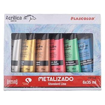 Plascolor PP184 - Pack de 6 tubos de pintura acrílica, multicolor ...