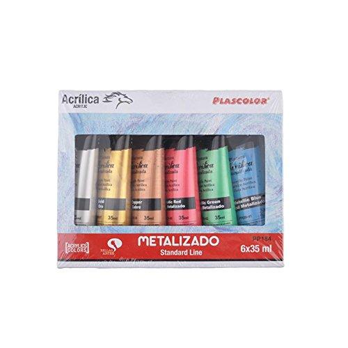 Plascolor PP184 - Pack de 6 tubos de pintura acrílica, multicolor