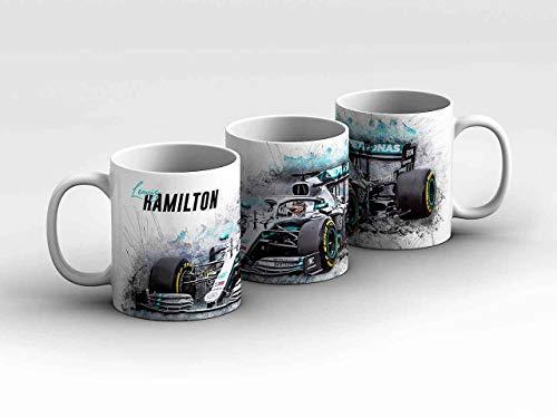 gasoline.gallery Formel 1 Tasse - Lewis Hamilton - Mercedes AMG Petronas Motorsport - Front weiß Kaffeebecher