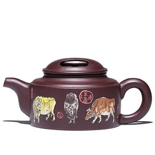 L.L.QYL Tetera Juego de té Yixing Juego Completo de Tapa de Vaca Figura de Cinco Vacas Pote de Arena púrpura Tetera Pintada a Mano Completa (Color : Purple mud)