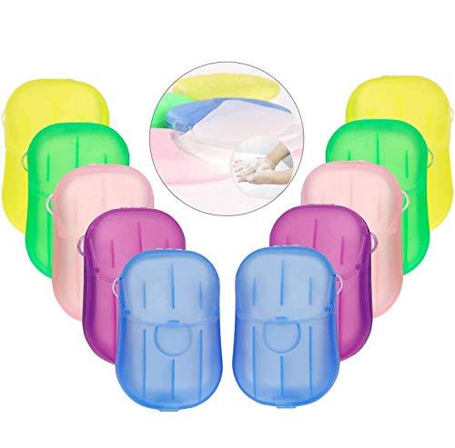 EXTSUD Seife Papier Seifenblätter, 10 Boxen Einweg Papier Seife Mini Tragbar Paper Soap mit Kunststoffbox für Unterwegs Reisen Camp 20 Stück jede Boxen