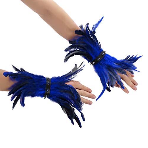 iEFiEL 1 Paar Feder Manschetten mit Nieten Natürliche Hahn Feder Armbänder Punk Gotisch Schmuck Accessoire Für Party Halloween Kostüm Blau One Size