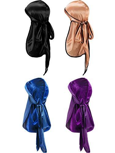 2 Stück Samt Durag und 2 Stück Silky Soft Durag Cap Headwraps mit Langem Schwanz und Breiten Trägern für 360 Wellen (Stil A)
