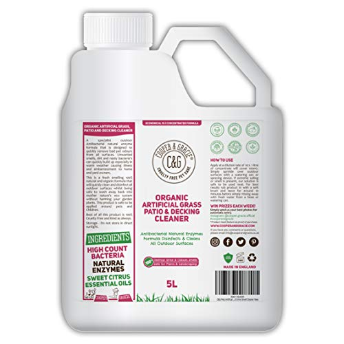C&G Pets | Organic Artificial Grass, Patio And Decking Cleaner | Destroys Pet Cat Dog Urine Smells | Antibacterial Natural Enzymes Disinfectant Will Totally Destroy Outdoor Urine Stains 1 Litre