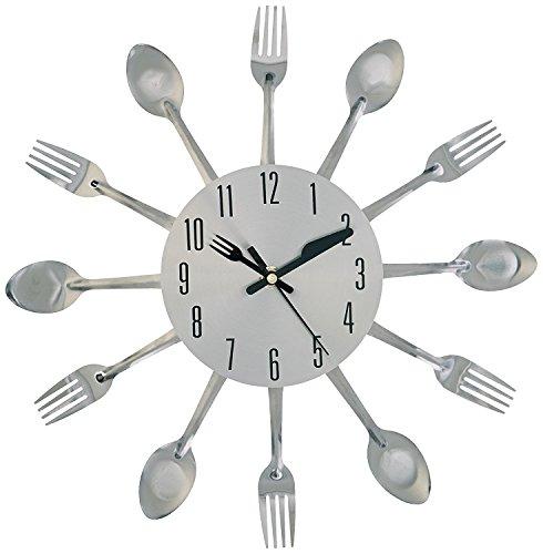 Zcsmg spécial en métal Horloge murale Couverts Coque pour décor de cuisine (Argent)