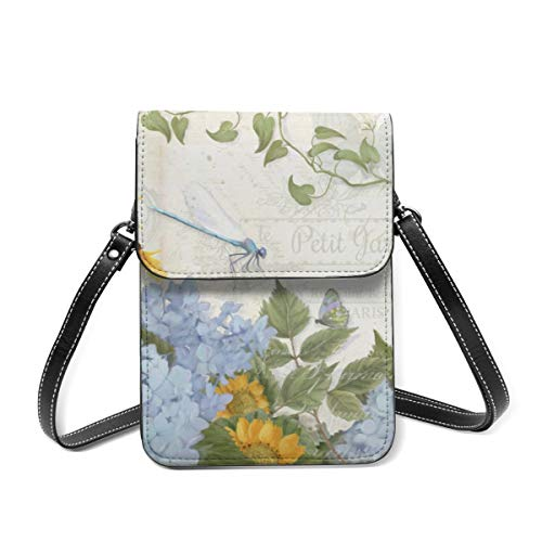 French Farmhouse Vintage Floral Dragonfly Small Crossbody Bag Womens Purse Leather Wallet Shoulder Travel Passport Bag Handbag Clutch