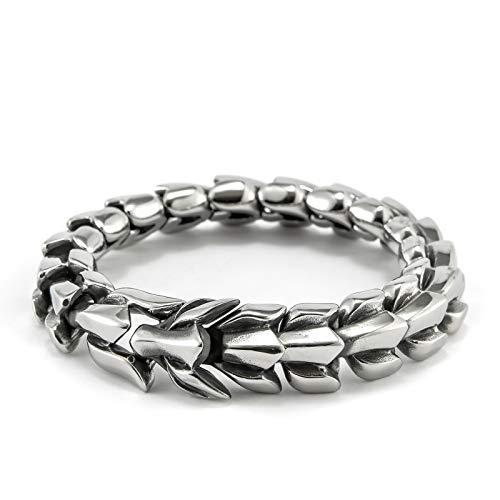 Pulsera de cadena de hueso de dragón para hombre, estilo punk, tendencia, dominio, de titanio, acero y titanio, para hombre, personality Fashion Dragons Bone Chain Bracelet Punk Trend Domineering