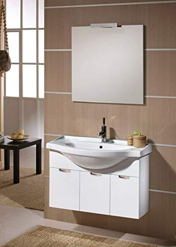 IdeaStella Composizione Bagno Linea Wendy da 80CM. Mobile Sospeso + Lavabo + Specchio + Lampada LED