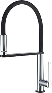 GRIFEMA Dover, LED Kitchen Tap with 3 Colors Changing, Black Sink Mixer with Flexibe Spout, Chrome