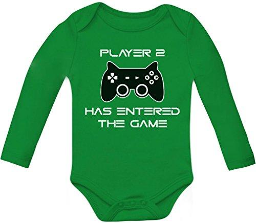 Body de manga comprida do jogador 2 Has Entered The Game – Presente para o segundo filho, Verde, recem nascido
