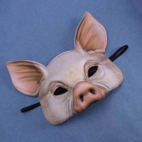 YeahiBaby Half Face Animal Mask Mscara de Cerdo para Fiesta Festival Halloween Masquerade Fancy Ball Cosplay (Rosa)