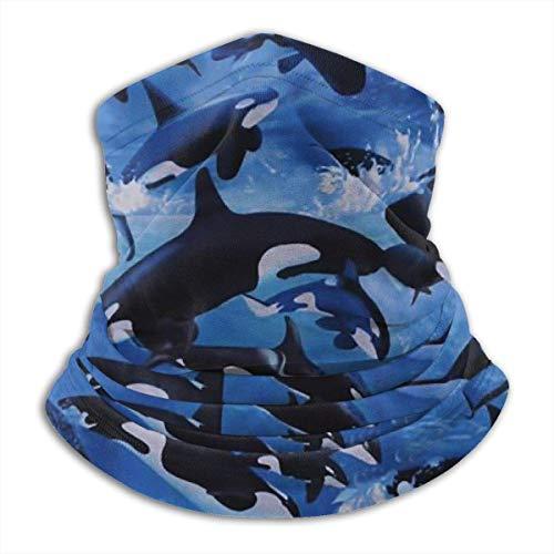 Tour de Cou Cagoule Microfibre Chapeaux Tube Masque Visage, Killer Whales Orcas Ocean Sea Fleece Neck Warmer - Reversible Neck Gaiter Tube, Versatility Ear Warmer Headband & For Men And Women