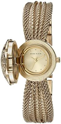AK-1046CHCV Swarovski Crystal Accented Gold-Tone Covered Dial Mesh Bracelet Watch