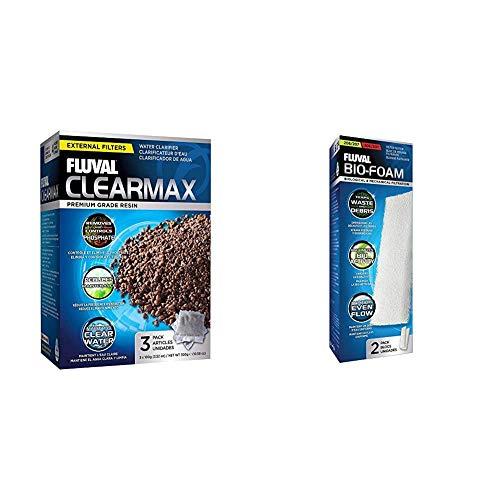 Fluval Clearmax - Premium-Harz zur Entfernung von Phosphat, Nitrit und Nitrat & A222 Schaumstoff Filterzubehör für 206/207 306/307