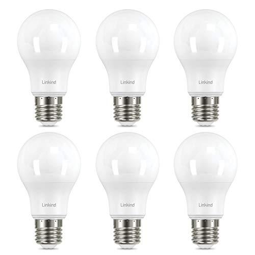 Linkind Bombilla LED de 8,2 W, equivalente a una bombilla de 60 W, E27, 5000 K, blanco frío, 820 lm, ángulo de haz de 220°, ERP, certificado CE, no regulable, pack de 6 unidades