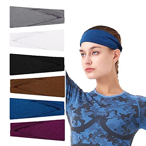 Pwhyi Cinta para el pelo para mujer, monocolor, elástica, ancha, deportiva, antideslizante, transpirable, para yoga, maquillaje, para mujer (6 unidades)
