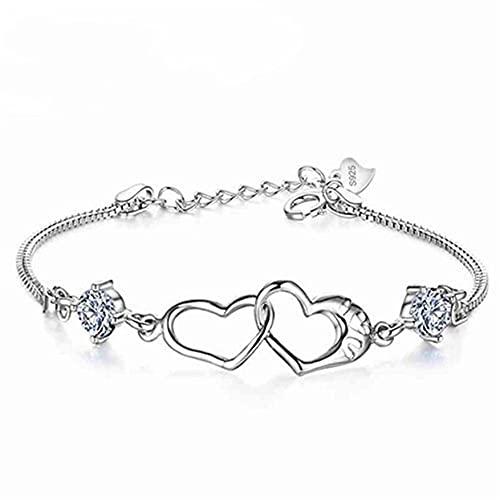 FENGGUO Pulsera de corazón para mujer, chapada en plata, ajustable, para el día de la madre, regalo de cumpleaños para mamá, mujeres, esposas y niñas