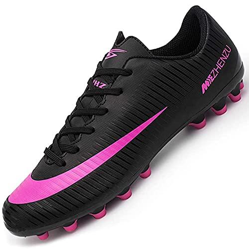 Csgkag Zapatos de Fútbol Hombre Training Botas de Fútbol Spike Aire Libre Profesionales Atletismo Zapatillas de Tacos Futbol,Negro,EU42