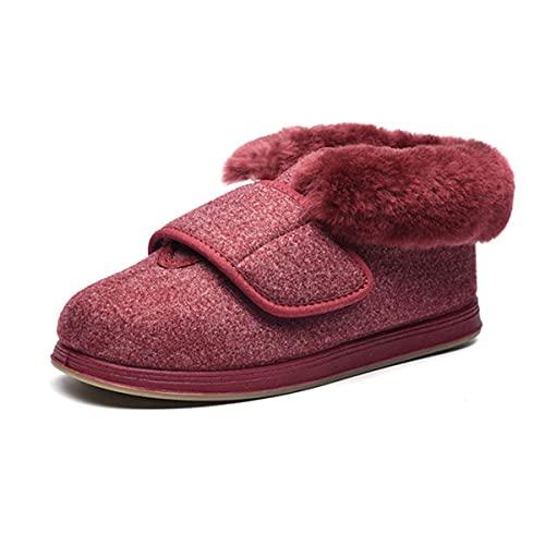 Zapatillas Diabéticas para Hombres para Mujer, Invierno Zapatos De Caminata Hinchados Hinchados De Invierno Zapatos Edema Ajustables Zapatos De Edema Extra Amplio Amplia Sandalias Ancianos,Rojo,39