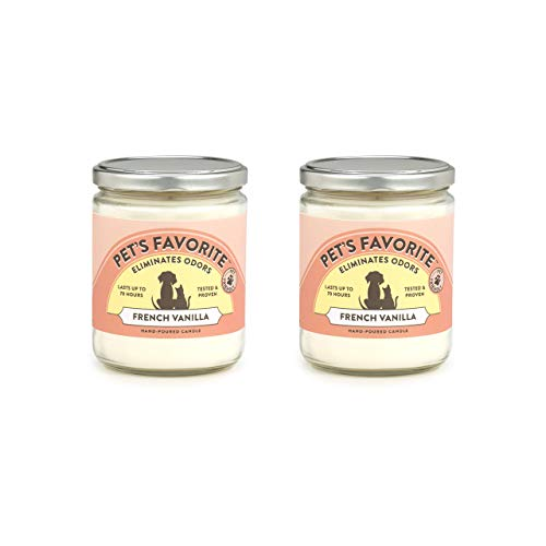 Pet's Favorite - Tested & Proven - Odor Eliminating Candle, Pet-Friendly Scented Candle, in 4 Great Fragrances – 70-Hour Burn Time, Cotton Wick (French Vanilla, Pack of 2)