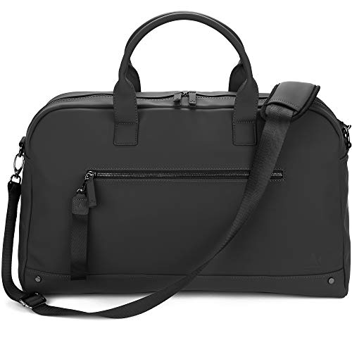 The Friendly Swede Weekender Reisetasche für Damen und Herren - Hochwertige Duffle Bag Reisetasche Handgepäck Tasche - VRETA Travel Bag - 35L, Veganes PU (Schwarz Mat)